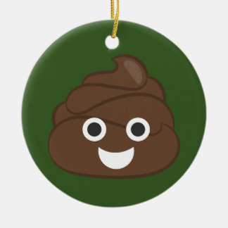 Dunette idiote folle Emoji de Brown Ornement Rond En Céramique