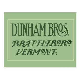 Dunham Bros. Brattleboro, carte postale de VT