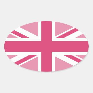 ~ d'Union Jack dans des roses Girly Sticker Ovale
