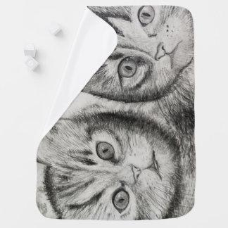 Duo de chatons pour nouveau-né, amants de chats, couverture de bébé