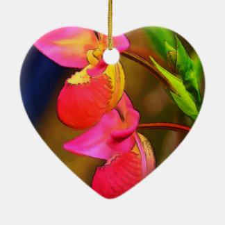 Duo stylisé de fleur d'orchidée de Phragmipedium Ornement Cœur En Céramique