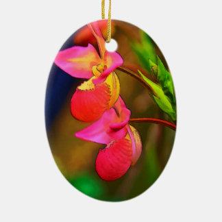 Duo stylisé de fleur d'orchidée de Phragmipedium Ornement Ovale En Céramique