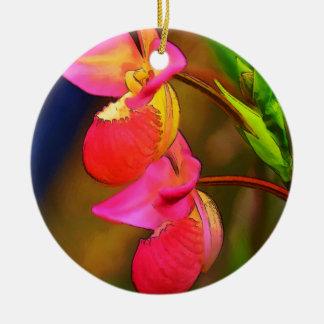 Duo stylisé de fleur d'orchidée de Phragmipedium Ornement Rond En Céramique