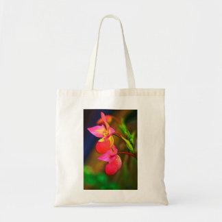 Duo stylisé de fleur d'orchidée de Phragmipedium Sacs En Toile
