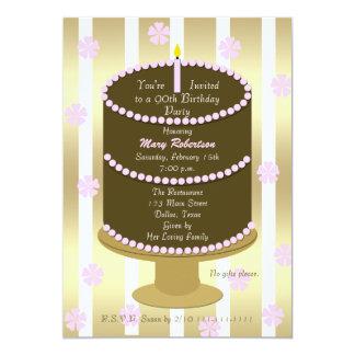 Durcissez la quatre-vingt-dixième invitation de carton d'invitation  12,7 cm x 17,78 cm