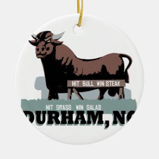 Durham OR Taureau Ornement Rond En Céramique