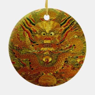 Dynastie de Ming chinoise de broderie de dragon Ornement Rond En Céramique