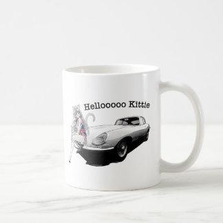 E-type pointe avec la fille chaude de chat mug blanc