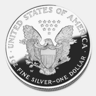 Eagle argenté américain 1 dollar sticker rond