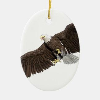 Eagle chauve avec des ailes sur vers le bas ornement ovale en céramique