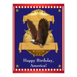 Eagle chauve bleu blanc rouge patriotique 4 carton d'invitation  16,51 cm x 22,22 cm