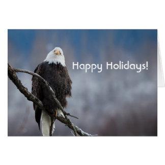 Eagle chauve dans une carte de vacances d'arbre