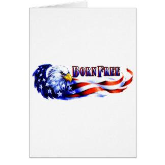 Eagle chauve libre né et drapeau des Etats-Unis Carte De Vœux