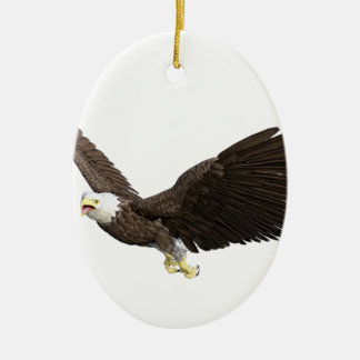 Eagle chauve montant ornement ovale en céramique