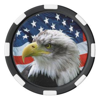 Eagle chauve patriotique et drapeau américain rouleau de jetons de poker