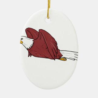 Eagle chauve pilotant la bande dessinée ornement ovale en céramique