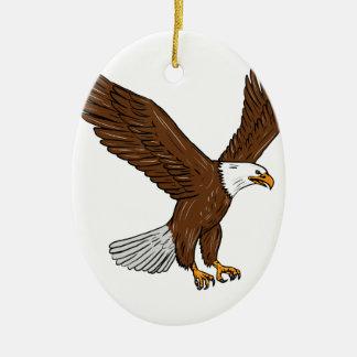 Eagle chauve pilotant le dessin ornement ovale en céramique