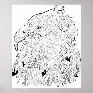 Eagle dessinant l'affiche adulte de coloration posters