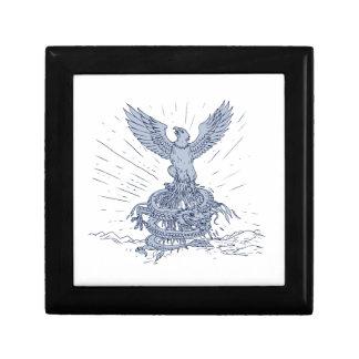 Eagle et dessin de montagnes de dragon boîte à souvenirs