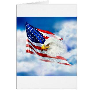 Eagle et drapeau américain carte de vœux