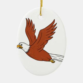Eagle fâché pilotant la bande dessinée ornement ovale en céramique