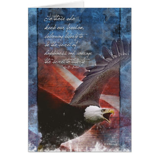 Eagle patriotique en vol carte de vœux