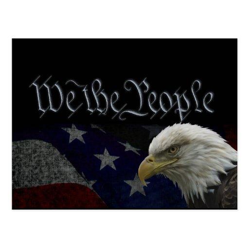 Eagle patriotique et drapeau cartes postales