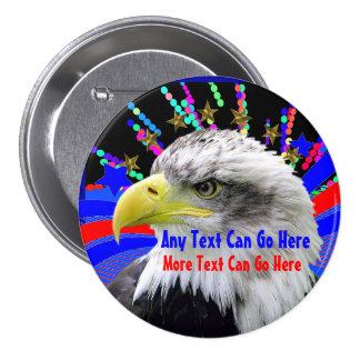 Eagle patriotique et Pin rond de bouton d'étoiles Pin's