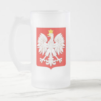 EAGLE POLONAIS FROSTED GLASS BEER MUG
