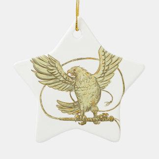Eagle saisissant le dessin de Bullwhip Ornement Étoile En Céramique
