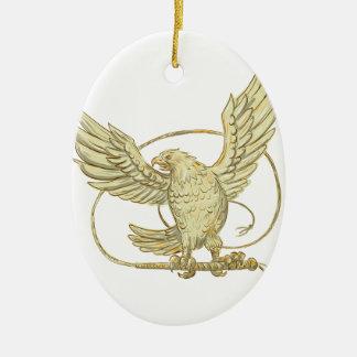 Eagle saisissant le dessin de Bullwhip Ornement Ovale En Céramique