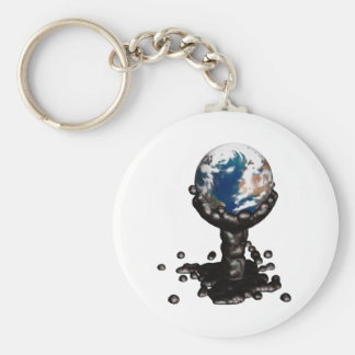 Earth drowned in oil porte-clé rond