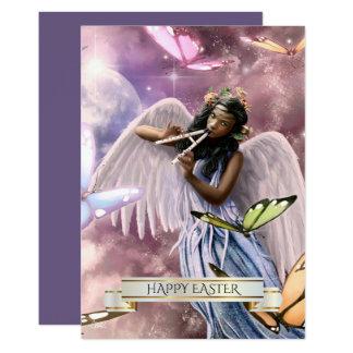 Easter.Angel heureux avec des cartes de papillons Carton D'invitation 12,7 Cm X 17,78 Cm