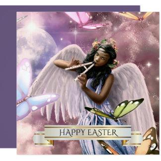 Easter.Angel heureux avec des cartes de papillons Carton D'invitation 13,33 Cm