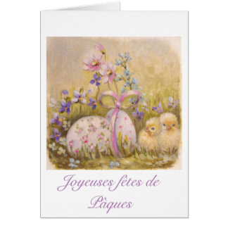 easter greetings cards - Poussins, oeufs Myosotis Carte De Vœux