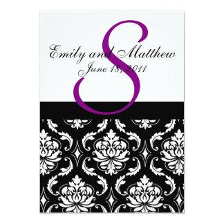 Ébauche pourpre #3 d'invitations de mariage carton d'invitation  12,7 cm x 17,78 cm