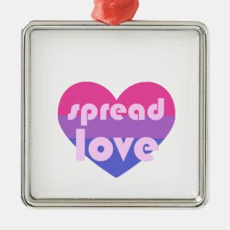 Écartez l'amour bisexuel ornement carré argenté