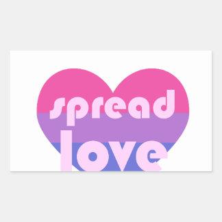 Écartez l'amour bisexuel sticker rectangulaire