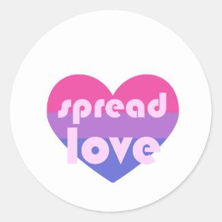 Écartez l'amour bisexuel sticker rond