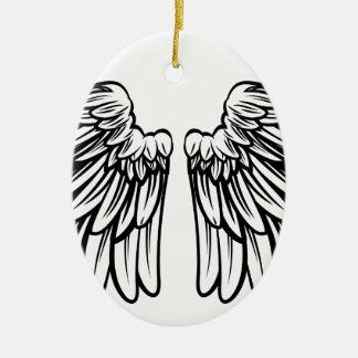 Écartez les paires d'ange ou d'ailes d'Eagle Ornement Ovale En Céramique