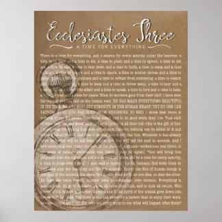 Ecclesiastes trois, horloge vintage poster