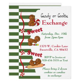 Échange de biscuit ou de sucrerie de pain d'épice carton d'invitation  12,7 cm x 17,78 cm