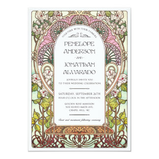 Échantillon de mariage de Nouveau d'art Carton D'invitation 12,7 Cm X 17,78 Cm
