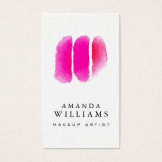 Échantillons roses de maquilleur d'aquarelle cartes de visite