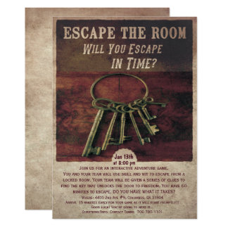 Échappez à l'invitation de pièce carton d'invitation  12,7 cm x 17,78 cm