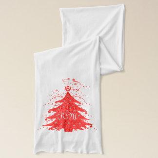 Écharpe Arbre et étoiles de Noël de fête décorés d'un