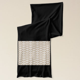 Écharpe art déco, motif japonais de fan, or, blanc, cru,