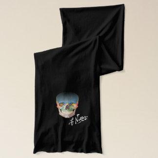 Écharpe Crâne et signature de Netter sur l'écharpe noire