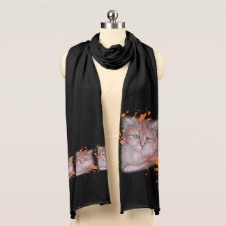 Écharpe Dessin d'écharpe orange de chat tigré et de