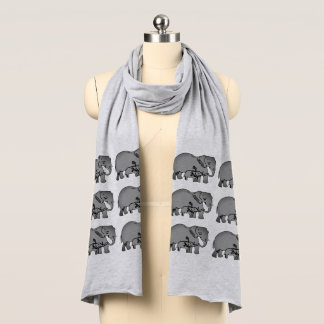 Écharpe du Jersey de motif d'éléphants